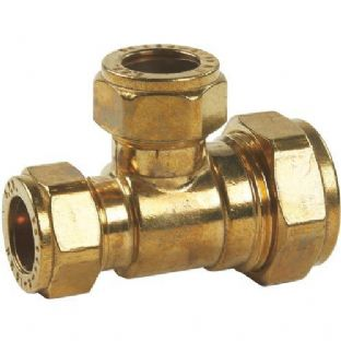 22 x 15 x 22mm compression fitting Reducing Tee (Bag of 10=£31.32)